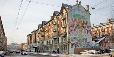 Малый проспект Васильевского острова, рисунок на брандмауэре