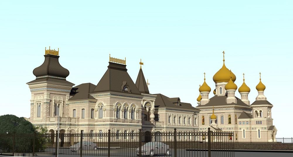 Проспект Луначарского, научно-просветительский центр и церковь Петра и Февронии