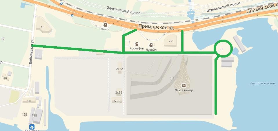 Схема улично-дорожной сети возле Лахта-центра
