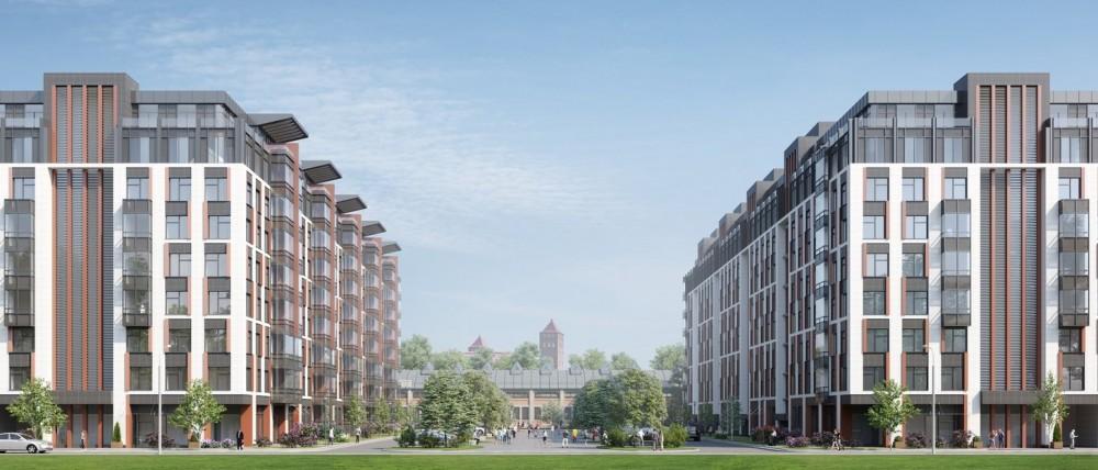 Жилой комплекс на Большом Сампсониевском проспекте, вид на кузнечно-прессовый цех