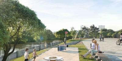 Набережная реки Охты, пешеходная зона