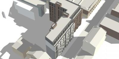Пионерская улица, проект жилого дома, вид сверху