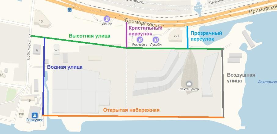 Схема улиц Лахты