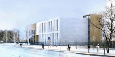Школа на Крестовском проспекте, проект, вид с Морского проспекта