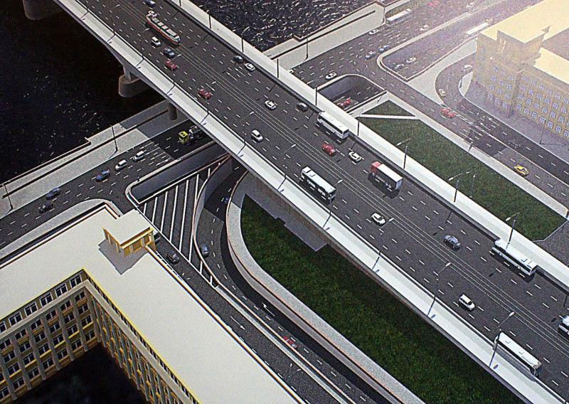 Малоохтинский проспект, развязка у моста Александра Невского, тоннель