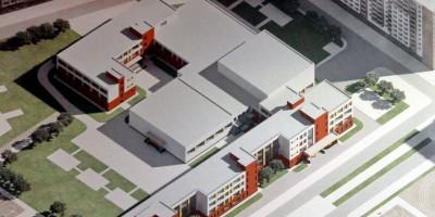 Проект школы на проспекте Ветеранов в Солнечном городе, вид сверху
