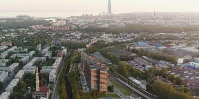 Коломяжский проспект, комплекс апарт-отелей, вид сверху