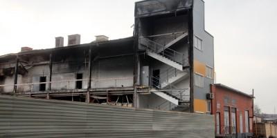 Лента на Обводном канале после пожара, лестница