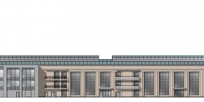 Канатный цех, проект пристройки, западный фасад