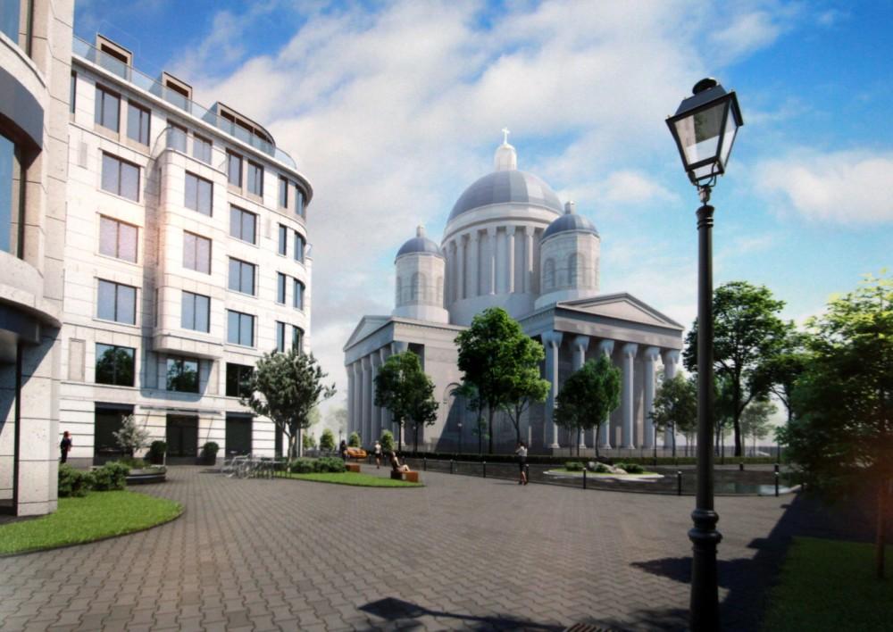 Троицкая площадь, проект жилого дома, храм
