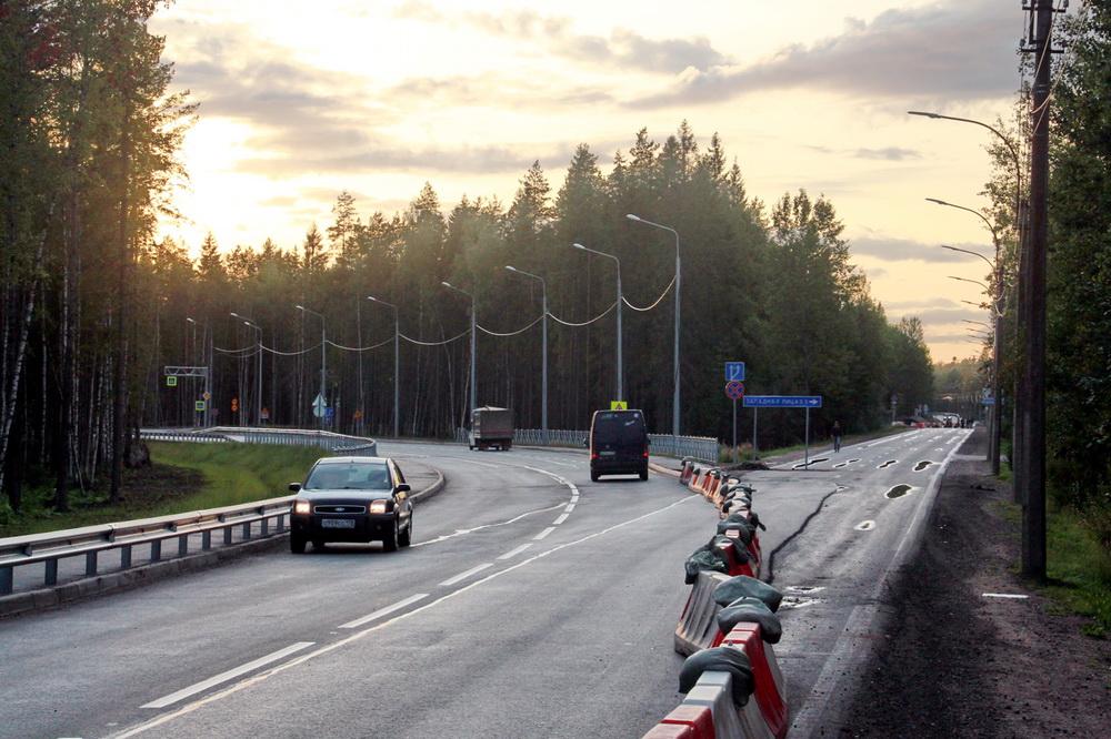 Песочный, Белоостровское шоссе, новая дорога