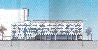 Проект нового корпуса онкологического центра в Песочном, южный фасад
