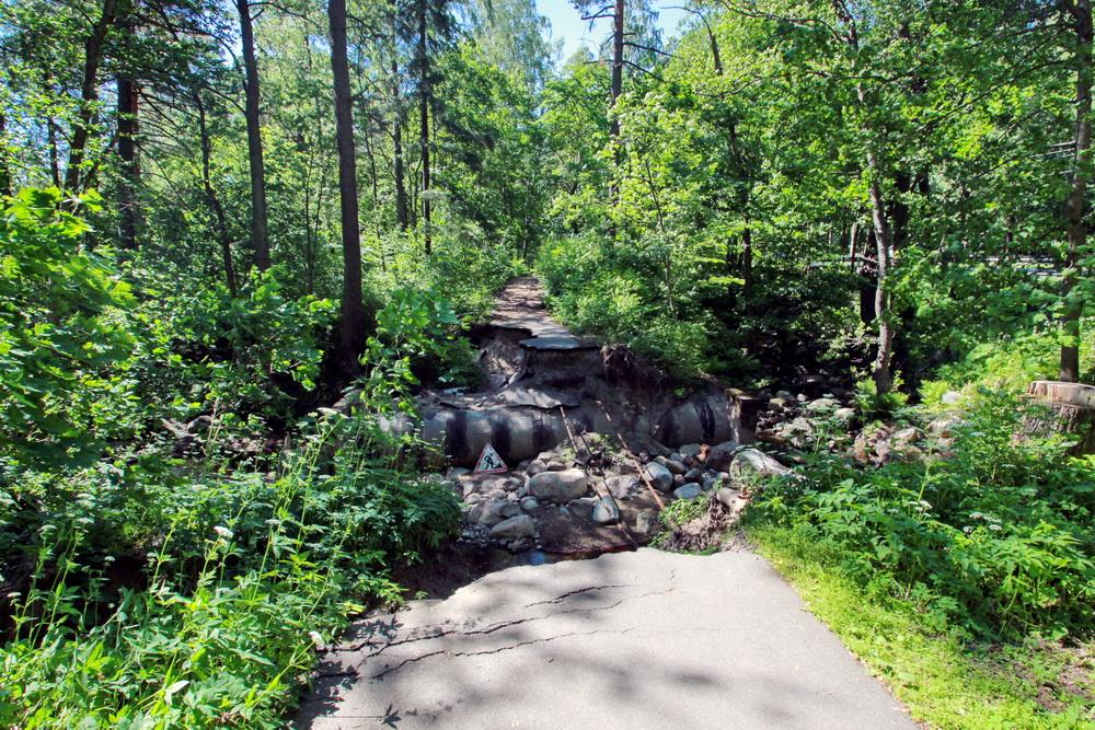 Ушково, размытая дорожка через Ушковский ручей