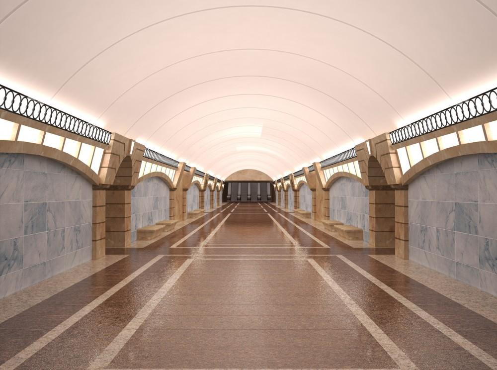 Станция метро Горный институт, центральный зал