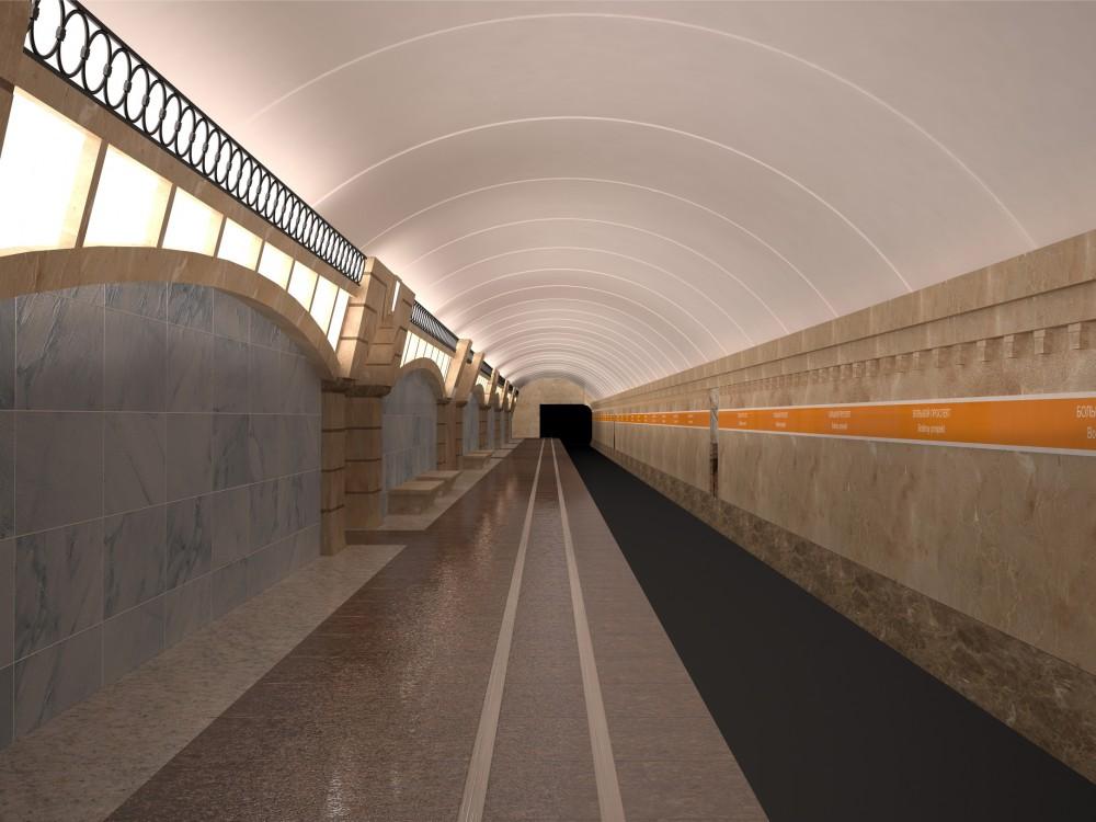 Станция метро Горный институт, перронный зал