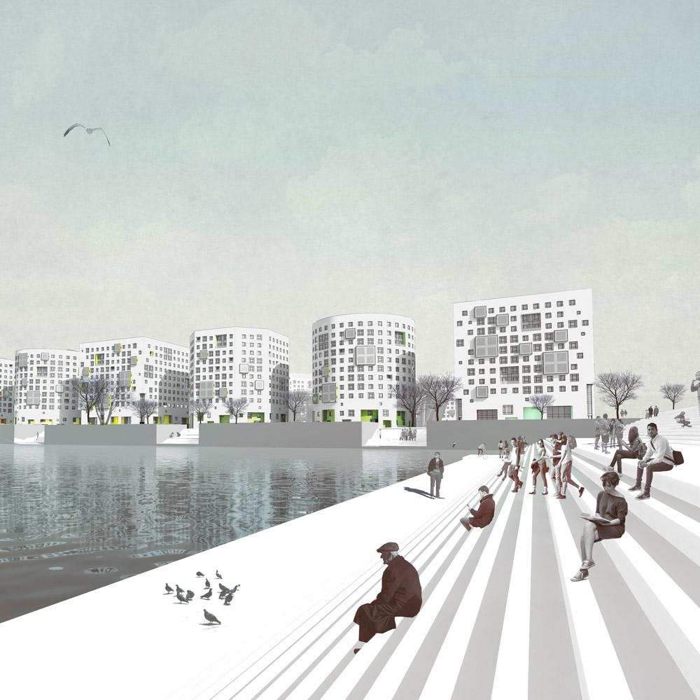Улица Кораблестроителей, проект кампуса СПбГУ, вид с реки Смоленки