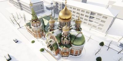 Крестовоздвиженский храм, вид сверху
