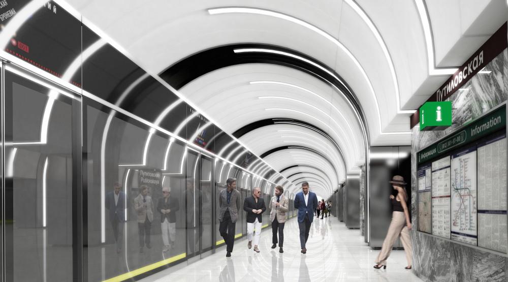 Станция метро Путиловская, перрон