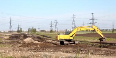 Строительство автодороги М11 возле Ям-Ижорского шоссе