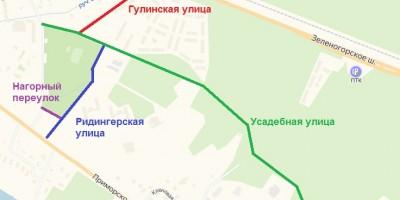 Схема улиц в Репине