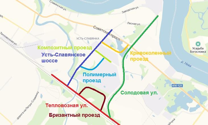 Схема улиц в Усть-Славянке