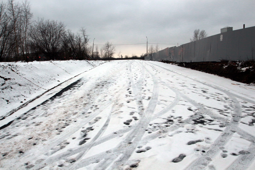 Ташкентская улица, новая дорога и снег