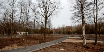 Ленино, сквер, дорожки, деревья
