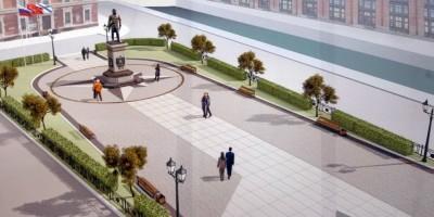 Площадь Труда, памятник Федору Ушакову, сквер