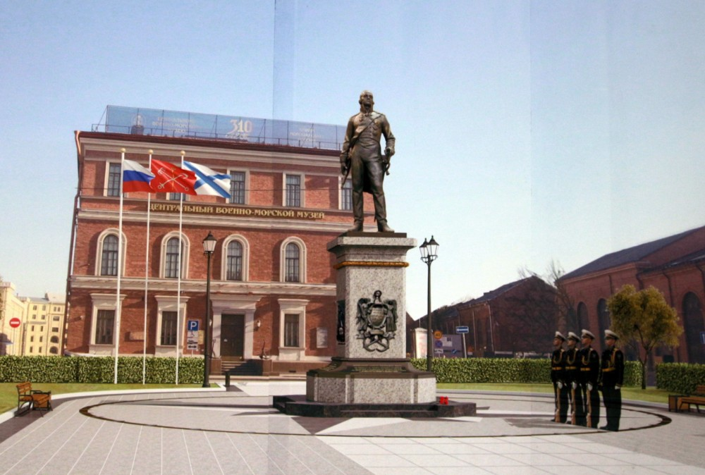 Площадь Труда, памятник Федору Ушакову