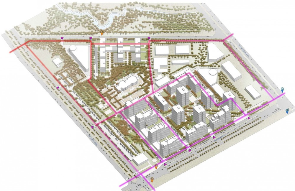 Жилой квартал на Парашютной улице от ЦДС, схема