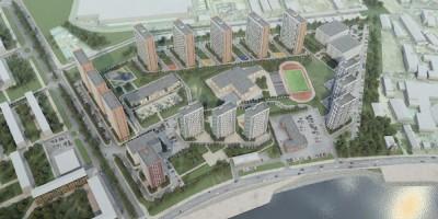Октябрьская набережная на углу с проспектом Большевиков, проект жилого комплекса, вид сверху