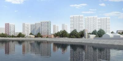 Октябрьская набережная, проект жилого комплекса, вид с воды