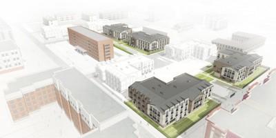 Пушкин, проект жилого комплекса на Новой, Гражданской улицах и в Ляминском переулке, вид сверху