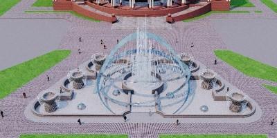 Московский проспект, фонтан перед РНБ, проект, вид сверху