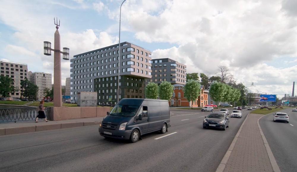 Выборгская набережная, проект жилого дома, вид с Головинского моста