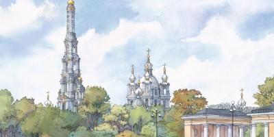 Смольный монастырь с колокольней, вид с площади Пролетарской Диктатуры