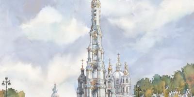 Смольный монастырь с колокольней, вид с площади Растрелли