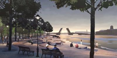 Парк Тучков буян, проект, амфитеатр-спуск к Малой Неве