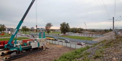 Пулковское шоссе, строительство временного путепровода