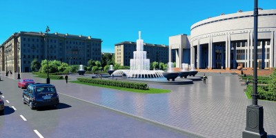 РНБ на Московском проспекте, проект реконструкции фонтанов, вид снизу