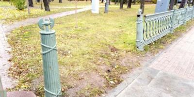 Александровский парк, сломанная решетка вдоль улицы Куйбышева