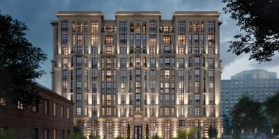 Московский проспект, проект жилого дома вечером
