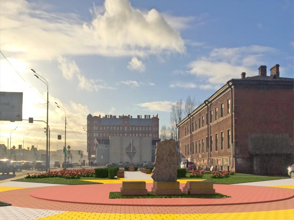 Набережная Обводного канала, проект сквера на месте Мирониевской церкви, памятный знак