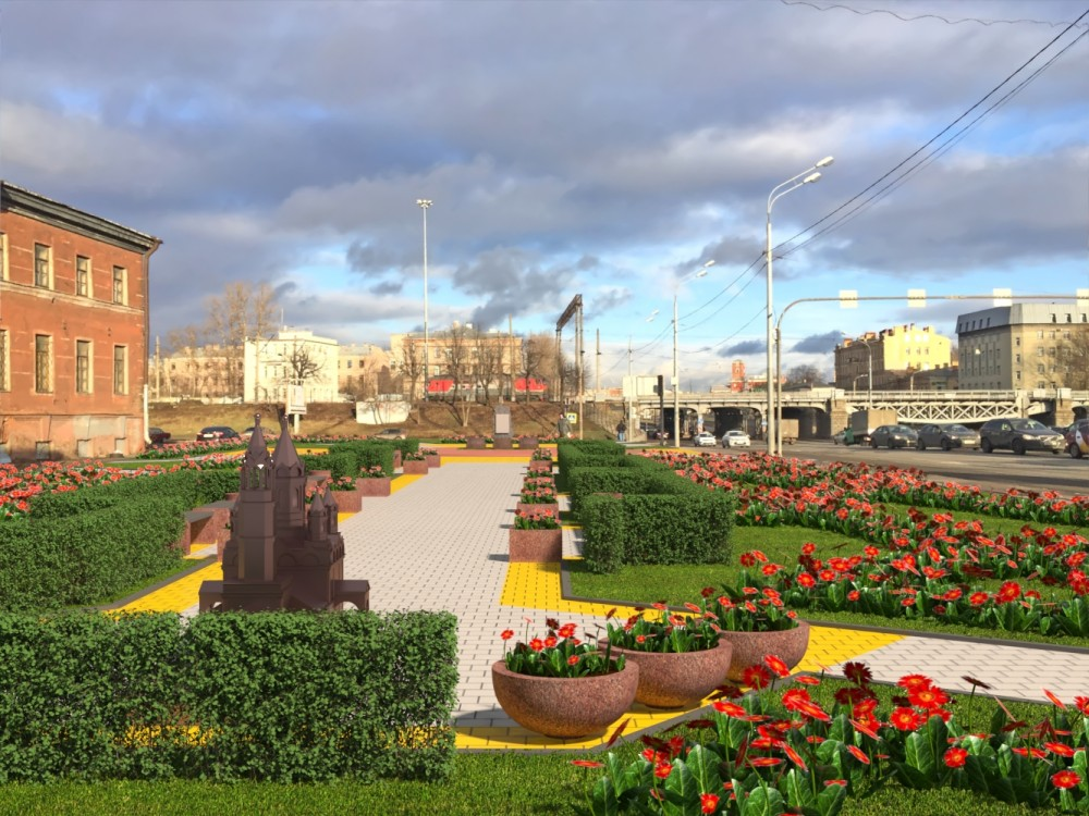 Набережная Обводного канала, проект сквера на месте Мирониевской церкви