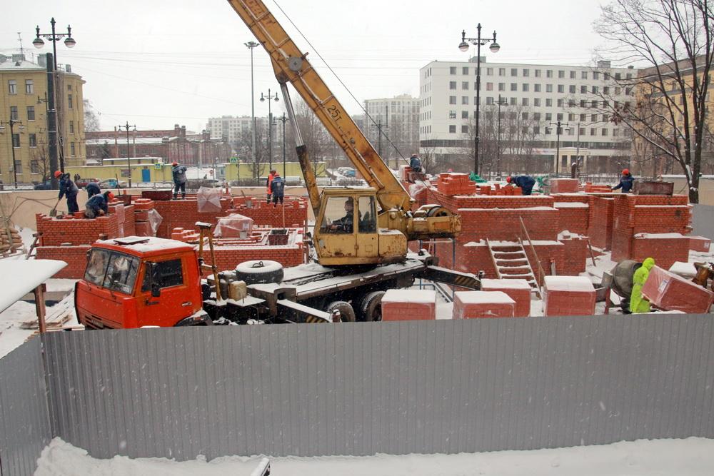 Московский проспект, воссоздание колокольни Новодевичьего монастыря, техника