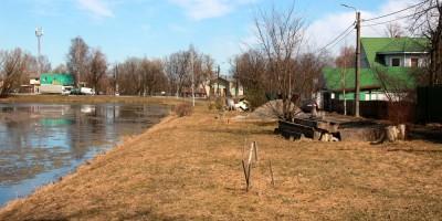 Александровская, пруд возле станции, берег на Привокзальной улице
