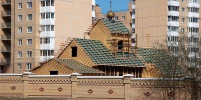 Красное Село, угол Красногородской улицы и Гатчинского шоссе, строительство церкви