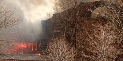 Октябрьская набережная, 50, пожар на фабрике Торнтон, огонь