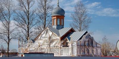 Старо-Паново, Таллинское шоссе, строительство церкви архистратига Михаила