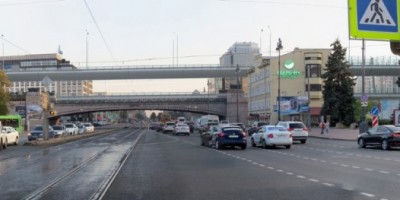 Московский проспект, путепровод Восточного скоростного диаметра, новый вариант, вид с севера